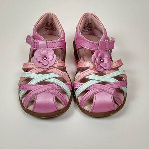 Stride Rite 8 Lily Sandals Pink Closed Toe Leather